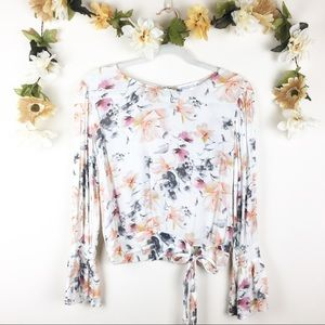 Socialite | Floral Tie Front Bell Sleeve Top